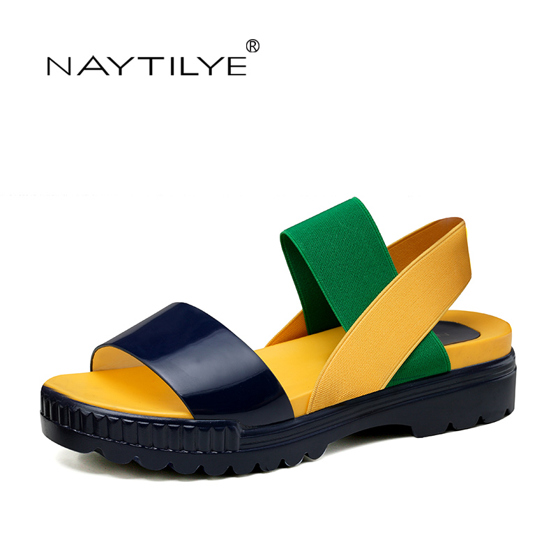 Women's Shoes Summer Flats Sandals Casual Basic light slip-on size 36-41 platform Best selling yellow Free shipping NAYTILYE lanshulan bling glitters slippers 2017 summer flip flops platform shoes woman creepers slip on flats casual wedges gold