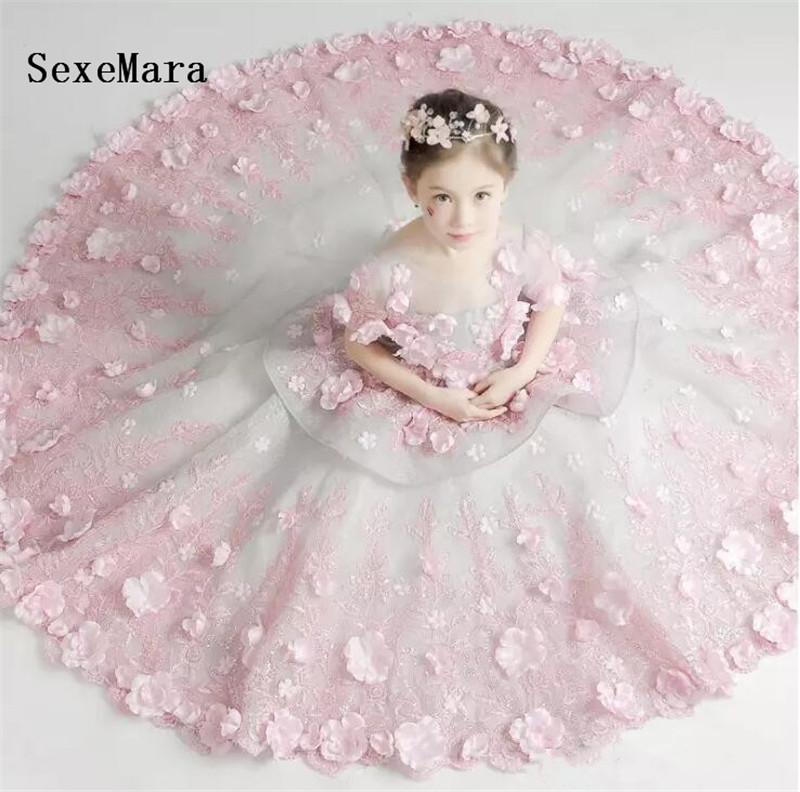 все цены на Flower Girls Dresses Petal Ruffle Tulle 3D Flowers Children Prom Dresses Embroidered Girls Birthday Party Gown Christmas Dresses