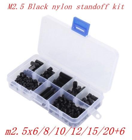 купить 180pcs/set BLACK M2.5 Nylon Hex Thread Standoff Spacers Screws Hex Nuts Hex Spacers Male-Female Size from M2*6 to M2*20 недорого