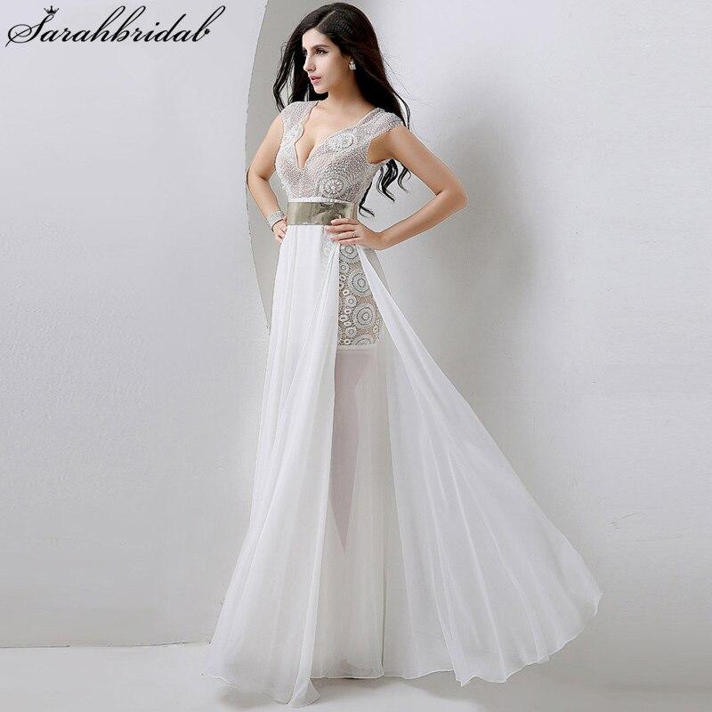 На складі Розкішні Високі щілини з бісеру Вечірні сукні Золотий пояс Весільні сукні для випускних шифону Джулі Віно Vestidos De Noche YD001