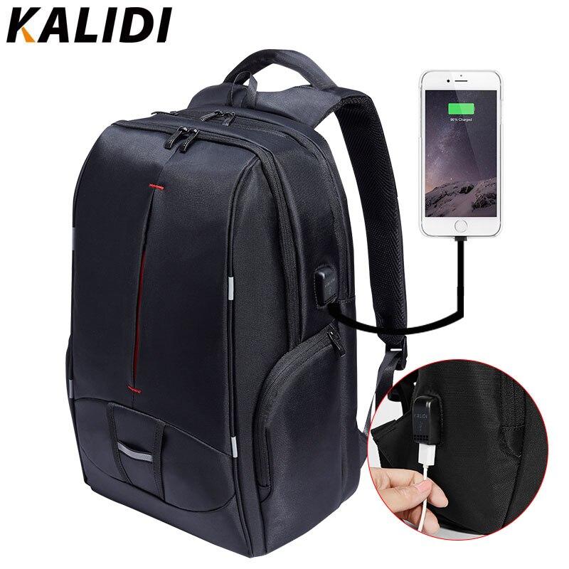 KALIDI 17 inch Waterproof Men Backpack USB Charging Women College Students Bag Notebook Laptop Backpack School Bag for 15.6 inch
