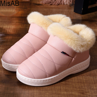Women Winter Boots PU Waterproof Snow Boots Fashion Fur Warm Ankle Boots Antiskid Outdoor Flat Boots