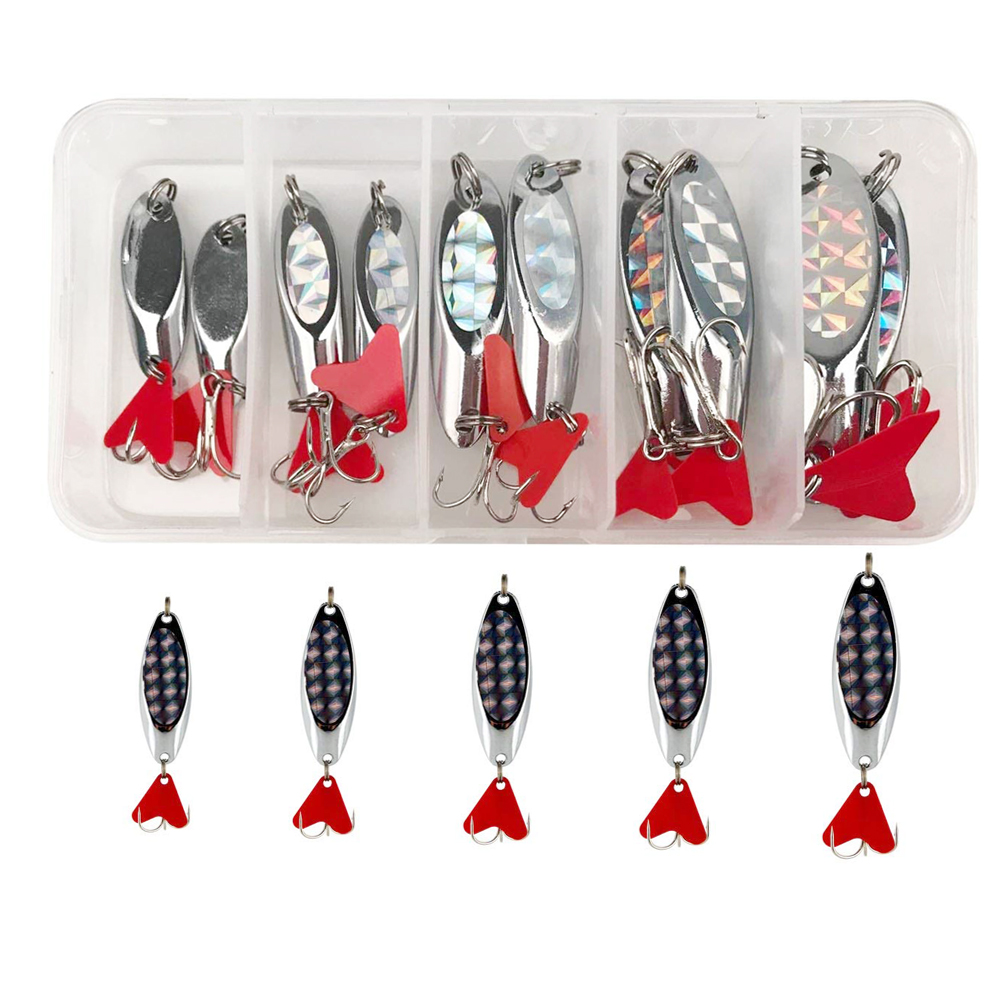 10Pcs/Box Metal Spoon Lure Treble Tackle Hook Spinnerbait Salmon Pike Trout Bass Fishing Jig Lure Bait Fishing Tackle