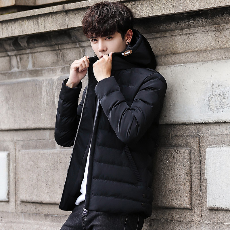 2018 new Autumn winter Men casual Hooded jacket coat fashion Zipper Slim fit light warm Men's cotton-padded clothes