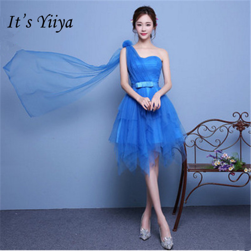 It's YiiYa Sexy Strapless One Shoulder   Bridesmaid     Dresses   Elegant Blue Back Lace Up A-line Slim   Dress   B067