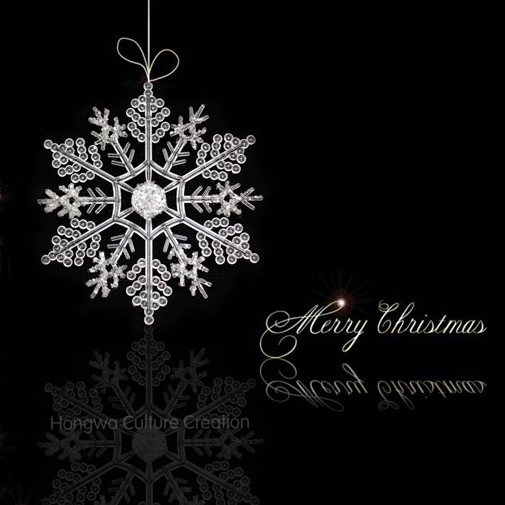 Christmas snowflake ornaments - Acrylic Solid Snowflake Christmas Ornaments Festival And Wedding Decorations 2 Pcs White Powder Effect Optional Size