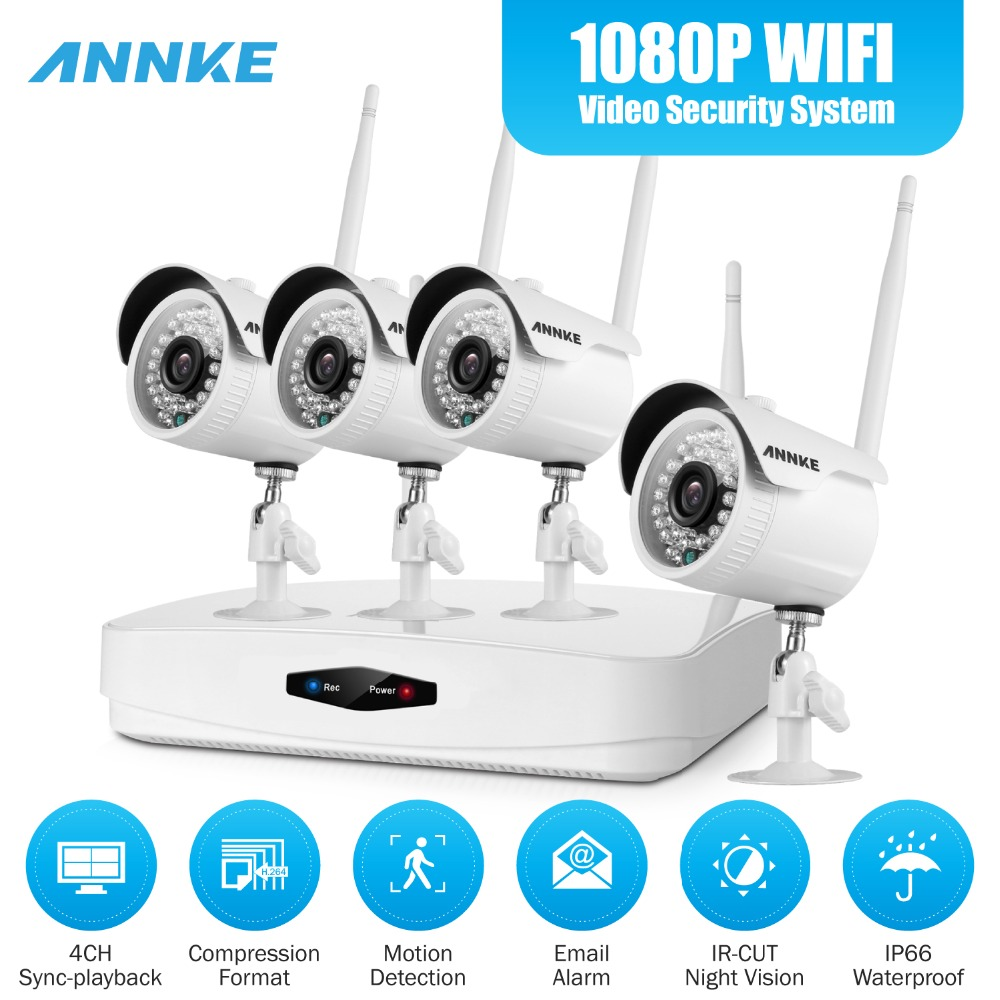 ANNKE 1080P 4CH Wireless NVR CCTV Video Security System 2.0MP IP Camera Wi-fi Network Outdoor Weatherproof CCTV Surveillance Kit