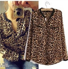 New Nice Fashion Women Wild Leopard Print Chiffon Blouse Sexy Long-sleeve Top Shirt Loose Plus Size V-neck Leopard Blouse A811