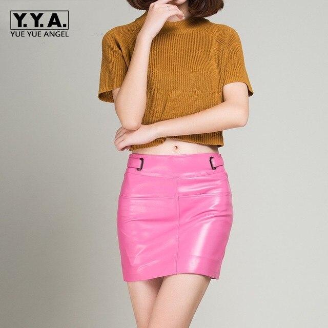 Autumn New Brands Womens Skirts Sheepskin Streetwear Sexy Wrap Jupe Femme Real Leather Casual Bodycon Pencil Mini Faldas Woman