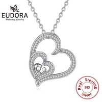 EUDORA 925 Sterling Silver Baby Mother Pendant Necklace for Women Cute Baby & Mom Heart Love Necklace Minimalist Jewelry CYD299