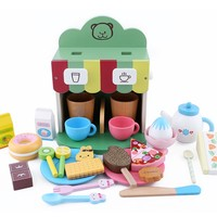 Kids Wooden Kitchen Toys Coffee Machine Set Pretend Toy Wooden Restaurant Toy Coffee Kit with Doughnut Bread Cake Sweets Gift
