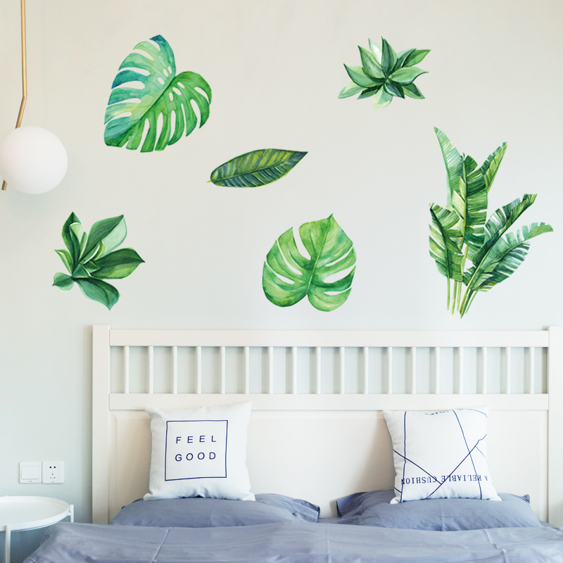 Home Decoration Wall Sticker Green Leaves Tv Background Wallpaper