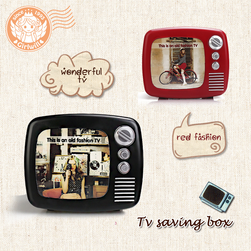 creative old fashion tv coin saving box photo frame 3 in. Black Bedroom Furniture Sets. Home Design Ideas