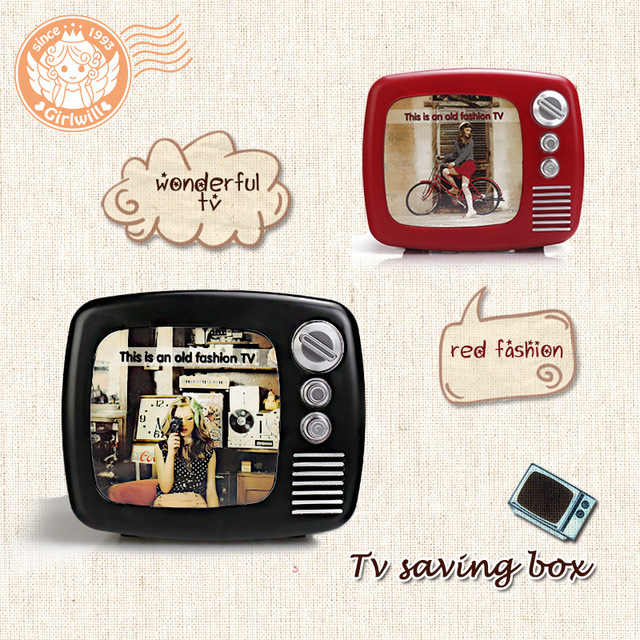Creative Old Fashion TV Coin Saving Box& Photo Frame,3 in one Retro ...