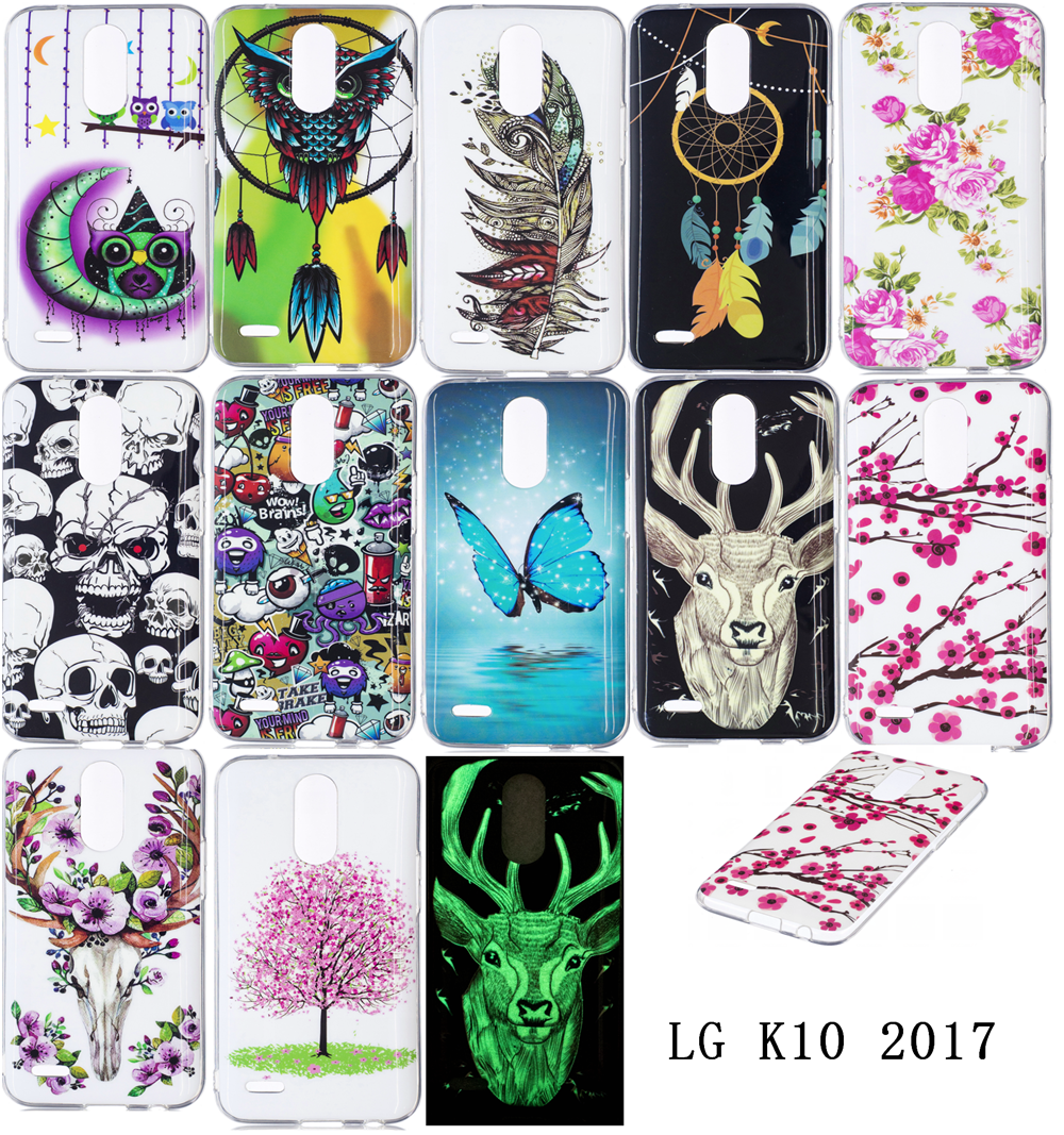 Luminous Phone Cases For LG K10 2017 K121 Soft TPU Silicon IMD Glossy Covers For LG K10 (2017) M250M Dual SIM Art Patterns Capas
