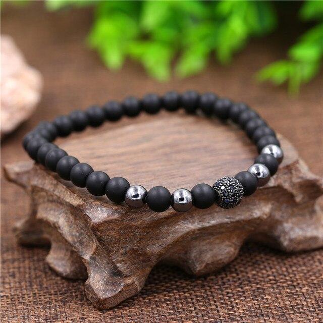Фото модный браслет 2 шт/компл из натурального черного матового камня