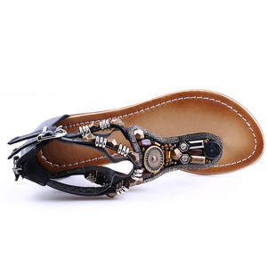 Image 4 - BEYARNES Style Flip Flops Beads Gladiator Sandalias Women 2018 Summer Slippers Fashion Zipper Sandals Flat Shoes