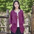 Estilo verão Vermelho manga Longa Botão Mulheres Blusas de Linho Solto Marca camisa Mori Menina Casual Blusas Mulheres Tops Camisas Blusa B053