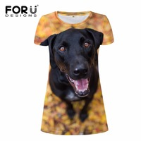 FORUDESIGNS 2017 Summer Women Dress Vestidos Mujer Cute 3D Dog Animal Woman Party Dresses Slim Bodybuilding