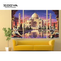 ZOOYA Diamond Embroidery 5D DIY Diamond Painting Castle And Tiger 3PCS Diamond Painting Cross Stitch Rhinestone