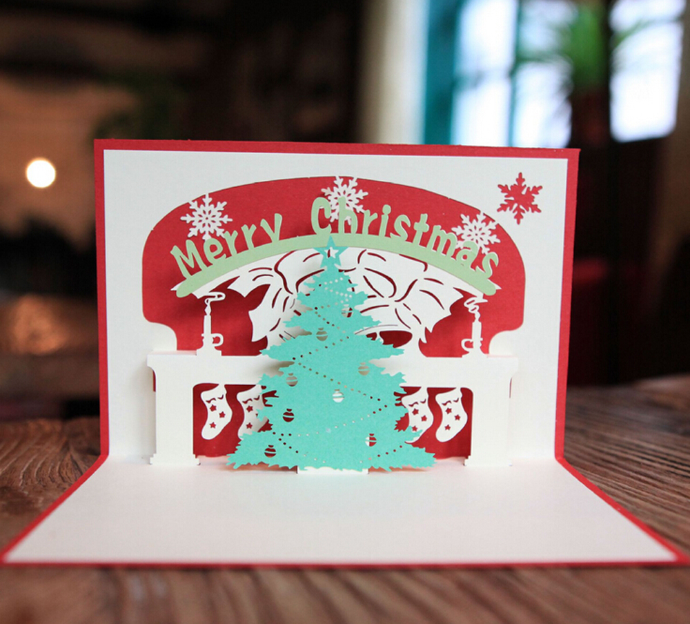 5 pieceslotkorean creative 3d cartoon greeting card for christmas 5 pieceslotkorean creative 3d cartoon greeting card for christmas paper carving christmas tree message gift card in event party from home garden on m4hsunfo