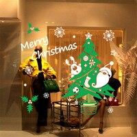 Snowflake الأخضر شجرة عيد الميلاد الديكور معرضا الزجاج ملصق للإزالة منحوتة نافذة ملصقات الحائط صائق للمنزل