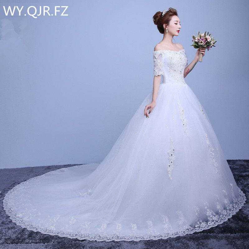 Lyg Ty20 Diamante Long Tail 2018 Autumn New Lace Up High Grade Wedding Party Prom Dress Sweet Princess Bridesmaid Dresses