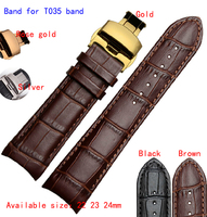 22mm 23mm 24mm Brown Alligator Pattern Genuine Leather Watch Bands Straps Bracelets Brushed Steel Butterfly Clasp
