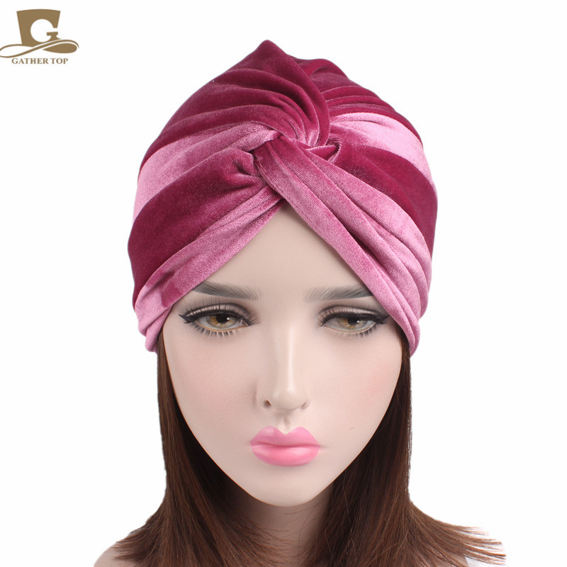 f2fff1a43 Cheap Nuevo Turbante de terciopelo suave de lujo Turbante para mujer  diadema anudada con capucha de