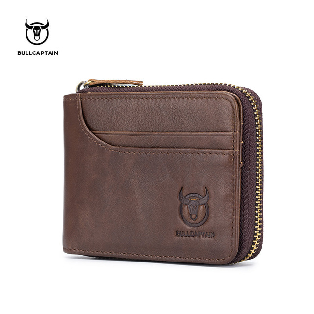 BUllCaptain Genuine Leather Men Wallets Short Coin Purse Small Retro Wallet Cowhide Leather Card Holder Pocket Purse Men Wallets genuine leather men wallets short coin purse vintage double zipper cowhide leather wallet luxury brand card holder small purse