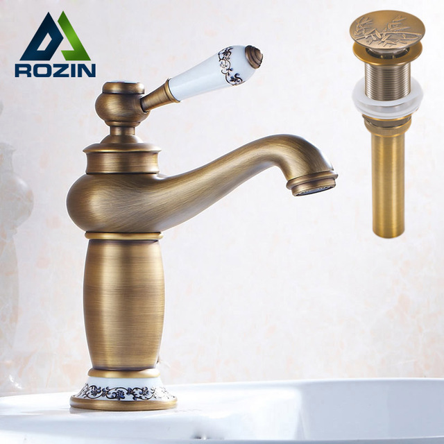 Single Handle Vintage Bathroom Faucet Deck Mounted One Hole Basin ...