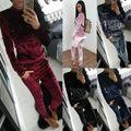 Starlist 2017 fashion Casual velvet suit Sports outwear sport suit plush sweatshirt Tops and Pants