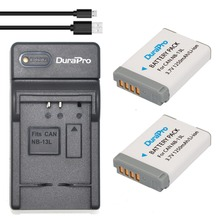 DuraPro 2Pcs NB-13L Battery +Extremely Slim USB Digital Charger for Canon PowerShot G5 X G7 X G7 X Mark II G9 X SX620 SX720