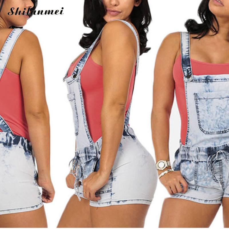 Denim High Waist Suspender Short ladies jumpsuits frayed light blue summer romper 2017 rompers women jumpsuit overalls XXL XL