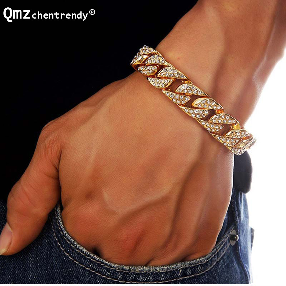 Fashion Men Bling MIAMI CUBAN Chain Bracelet Hip Hop Women Hipsterd Rhinestone Fully Iced Out CZ Bracelets Luxury Brand Jewelry