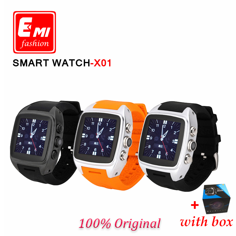 E-mi 2016 Bluetooth X01 Android 4.4.2 system Smart Watch function WIFI Waterproof Camera GPS 3G Smartwatch wearable devices