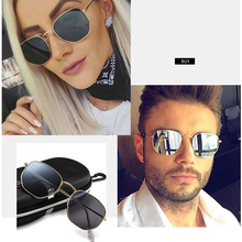 INEXHA Metallic Polygonal Sunglasses Woman Street Shooting Trend Aviation Aviator Men Black