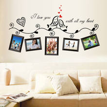 Lovely Family Tree Birds Photo Frame Quotes Wall Stickers Art Decals Home Decor Fashion Flowers Wall Sticker(China)