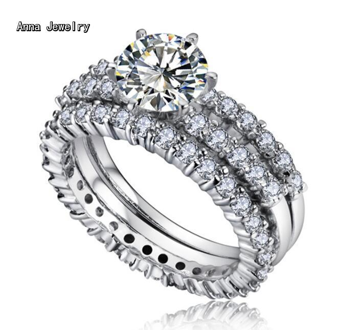 A Timeless Designer Stainless Steel Ring,With 3 Rows Clear Stones,Never Change Color.Finest CZ Diamonds Stones Ring For Women ...
