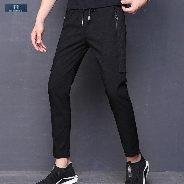 2018 Men Casual Pants Cotton Polyester Sweatpants Soft Breathable Black Male Trousers Autumn Slim Fit Joggers Size 28-38