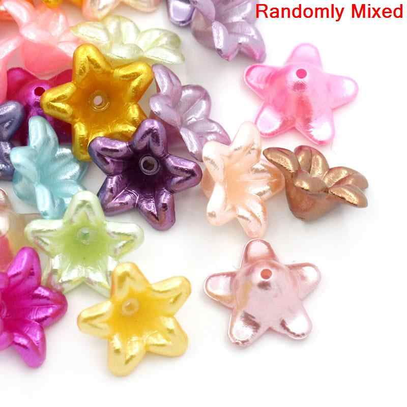 "DoreenBeads Acrylic Spacer Beads Flower Mixed About 13mm( 4/8"") x 13mm( 4/8""), Hole: Approx 1mm, 30 PCs"