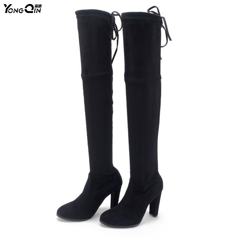 Women Boots Over the Knee Pointed Toe Thin Heels Women's Shoes Fashion Tight High Black ladies Shoes size 35-41 gladiator shoes denim thigh high boots women boots 2017 winter shoes over the knee fashion pointed toe thin heels mixed colors