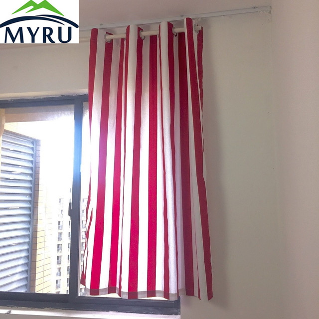 myru simple moderne classique rouge et blanc rayures coton toile tissu rideaux semi ombre tissu. Black Bedroom Furniture Sets. Home Design Ideas