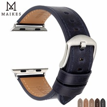 MAIKES Special Genuine Leather Watch Strap For Apple Watch Band 44mm 40mm 42mm 38mm Series 4 3 2 1 Bracelet iWatch Watchband