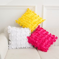 Flower back cushion with filling 40*40cm sofa cushion Home decor floral seat cushion bed decoration 3D flower rose white yellow