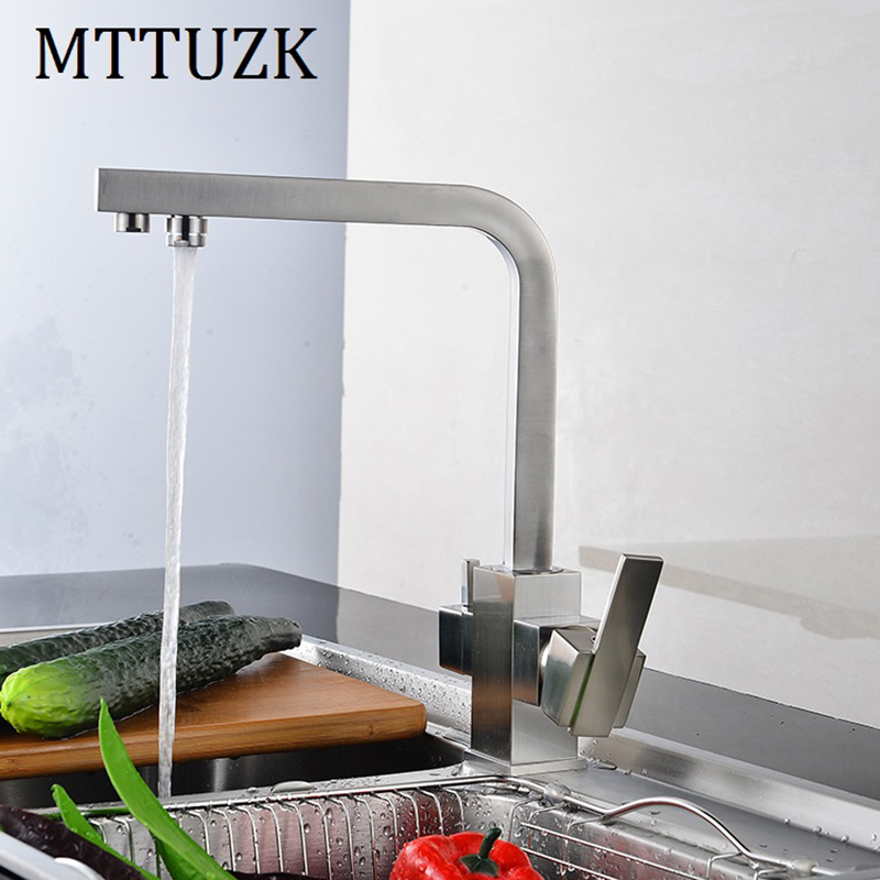 MTTUZK Square Brushed Nickel Multifunctional Kitchen Hot Cold Water Kitchen Faucet Pure Water Faucet Drinking Water Mixer Tap