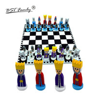 Wooden Chess Set Cartoon Chessman Chess Game Foldable Chessboard Wooden Chess Pieces and Board for Kid's Toy or Gift I33