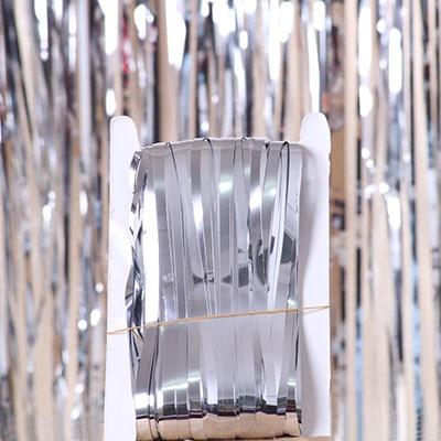 2 м 3 м 4 М Металлическая бахрома из фольги мерцающий фон свадебная вечеринка украшение стены фото стенд фон мишура блестящие занавески золото - Цвет: mirror silver