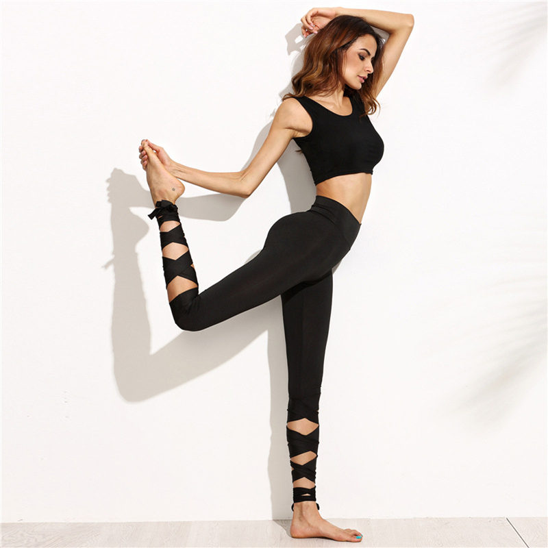 New Summer Cropped Pants Cross Lacing Women Sexy Pants Dry Fit Elastic Fitness Workout Sporting Leggings Female Trousers