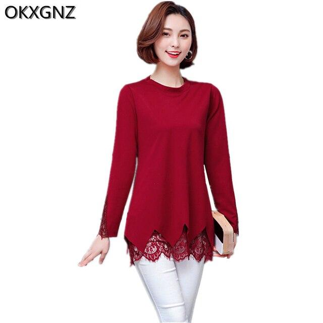 4f931d7ed8 Versão coreana Nova Primavera Camisa das Mulheres T 2017 Cor Pura Rendas  borda Roupas Femininas Básico